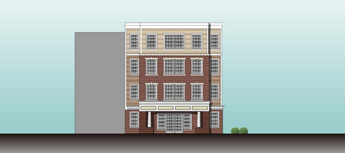 Image courtesy Domus Corp. Here's an architect's perspective of what the front of Harrison Senior Residence will look like.