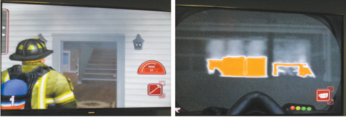 ABOVE LEFT: Software projects fi refi ghter about to enter house with smoke visible. RIGHT: Color-ind icated hot spots in smoky confi nes.
