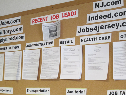 Photo by Ron Leir Bulletin board lists job opportunities by work category.