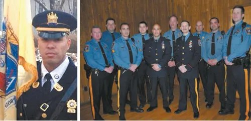 courtesy KPD LEFT: Det. Michael Gonzalez; RIGHT: Det. Gonzalez with Chief John Dowie and fellow officers at 2009 presentation at American Legion hall.