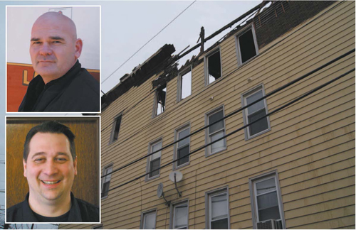A January 2013 blaze caused a structural collapse at this Devon St. house, trapping several fi refi ghters, who were rescued by KFD members Andrew O'Donnell (top) and Michael Janeczko.