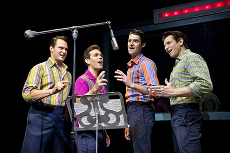 Photos courtesy Joan Marcus Matt Bogart (Nick Massi), Dominic Scaglione Jr. (Frankie Valli), Drew Gehling (Bob Gaudio) and Andy Karl