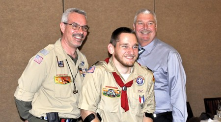Photo courtesy Stephen Koziel Stephen Koziel at Eagle Scout Award ceremony, fl anked (at l.) by Joel Lieberman, Northern N.J. Council training director; and Steve's dad Keith Koziel.