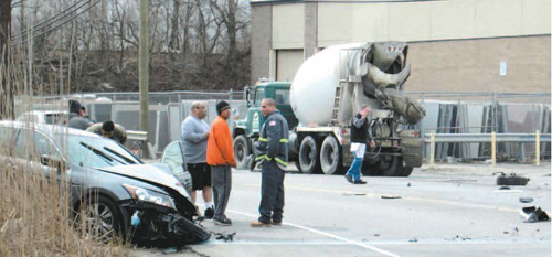 Photo by Ron Leir Aftermath of last Tuesday's crash on Belleville Pike