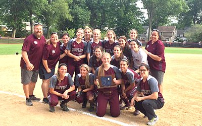 Photo courtesy Mike DiPiano The Nutley girls' softball team celebrates after winning the NJSIAA North Jersey Section 2, Group III championship in thrilling fashion, scoring two runs in the bottom of the eighth inning to earn the 2-1 walk-off victory over West Morris on Emily Holden's clutch double.