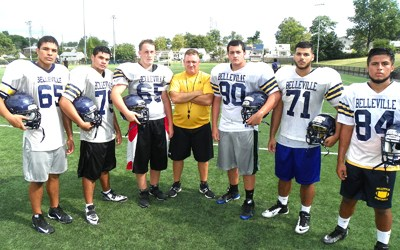 Photo by Jim Hague The Belleville football team hopes to be vastly improved over last year's 2-8 record. From l. are Luis Rosa, Angelo Gaglioti, C.J. Jackowski, head coach Joe Fischer, Nick Guardabasco, Andrew Morell and Victor Prendas.