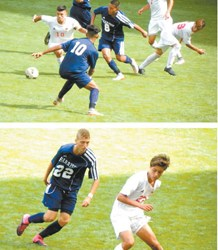 Photos by Jim Hague TOP: Kearny's Marcelo Matta (10 in white and with the ball) maneuvers his way through Harrison defenders Diedery Chamba (8 in blue) and Cristian Marquez (10 in blue) during Kearny's 5-1 victory over Harrison at Red Bull Arena Saturday afternoon. BOTTOM: Kearny's Ricardo Martins (22 in white) battles Harrison's Michael Sousa (22 in blue) during Saturday's 5-1 Kearny victory in rivals' annual showdown at Red Bull Arena