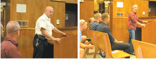 Photos by Ron Leir Fire Chief Steven Dyl (l.) and Firefigthter Michael McCurrie, president of FMBA Local 18, (r.) address the overtime issue at special council meeting last week.
