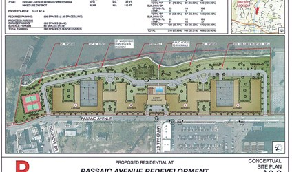 Conceptual site plan courtesy Town of Kearny Proposed layout of Passaic Ave. apartment complex in Kearny.