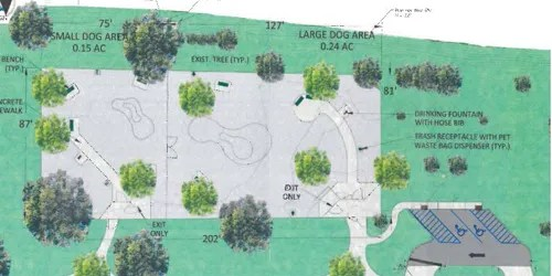 Site plan courtesy Neglia Engineering Kearny's dog park will have separate spaces for smaller and larger pooches, as shown in sketch.