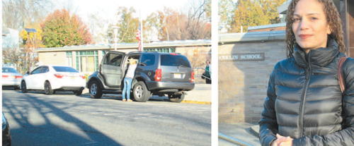 Photos by Ron Leir Concern about traffi c perils outside Franklin School -- where parents often park in prohibited yellow zones (l.) or double-park to drop off kids -- prompted parent Rosalia Diaz Colon (r.) to ask the school board for help.