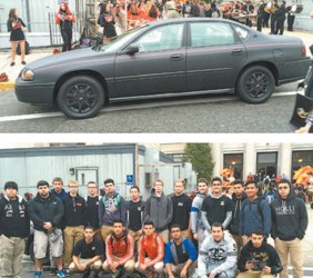 Photos by Victor Ribeiro TOP: The 2002 Chevy Impala 'test' car that Kearny students worked on. BOTTOM: Automotive class students who participated in 'Best in Class Challenge.'