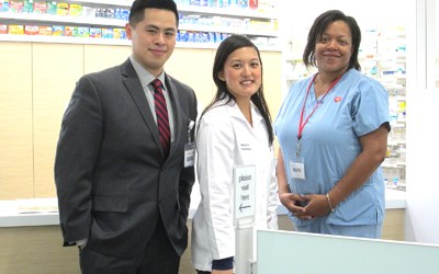 Photos by Ron Leir Pharmacy manager Melissa Florentino (c.) is fl anked by store manager Johnny Cheng and pharmacy technician Tish Melvin of Kearny.