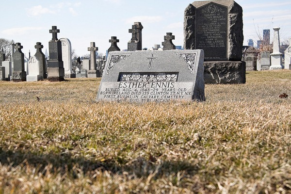 Esther Ennis tombstone from Calvary Cemetery in Queens New York
