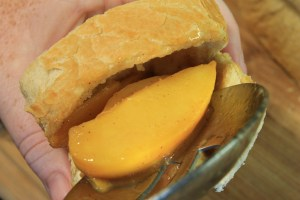 Fresh peaches stuffed into bread for french toast