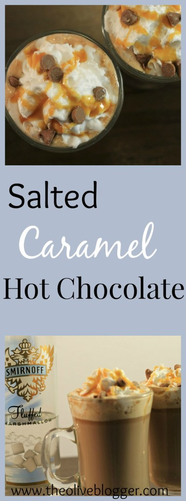 Salted Caramel Hot Chocolate- the perfect drink to warm you up on a cold day!! PLUS a spiked version for adults Mmm!