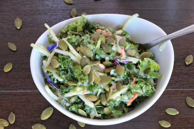 Kale and Broccoli Salad- with Creamy Coleslaw Dressing