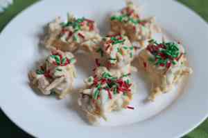 White Chocolate Haystack Cookies on White Dessert Plate