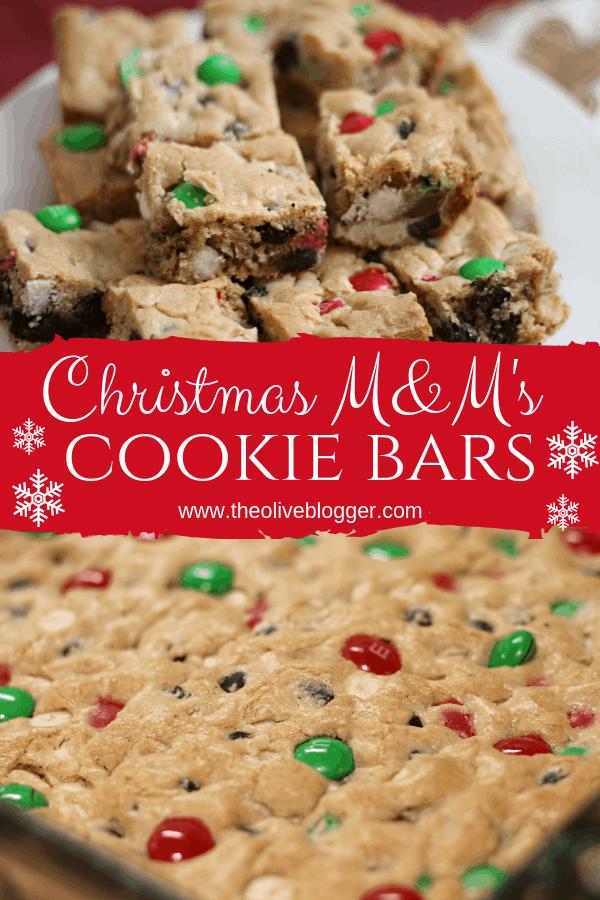 Christmas M&M Cookie Bars