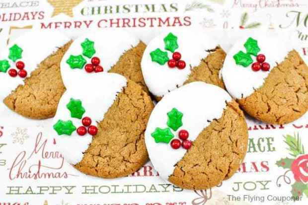 Gingerbread Cookies with white chocolate dip and holly decoration
