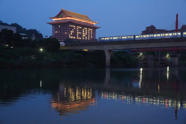 The Grand Hotel in Taipei illuminated to show zero new case in Taiwan - May 2020