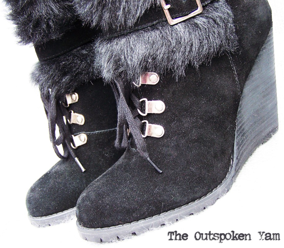 Oh right, and the boooots. I nearly forgot! (Ok, yeah, that would never happen.) The boots are a sueded and fur confection on a stacked platform heel featuring lacing and double buckles. So gorgeous and so cozy, these are from Carlos by Carlos Santana.