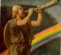 "Sounding the Horn - Heidallr defender of the Rainbow Bridge (Old Norse Ragnarök, ""The Doom of the Gods"") is the name the pre-Christian Norse gave to the end of their mythical cycle, during which the cosmos is destroyed and is subsequently re-created."
