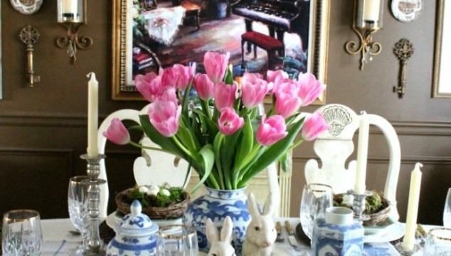 Blue & White Easter Table Setting