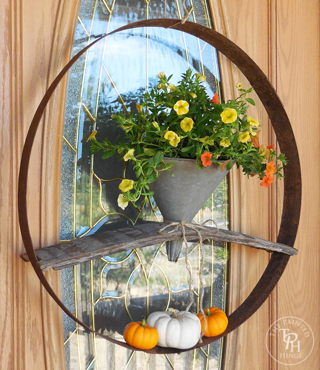 Fall Wreath From A Repurposed Funnel And Wine Barrel