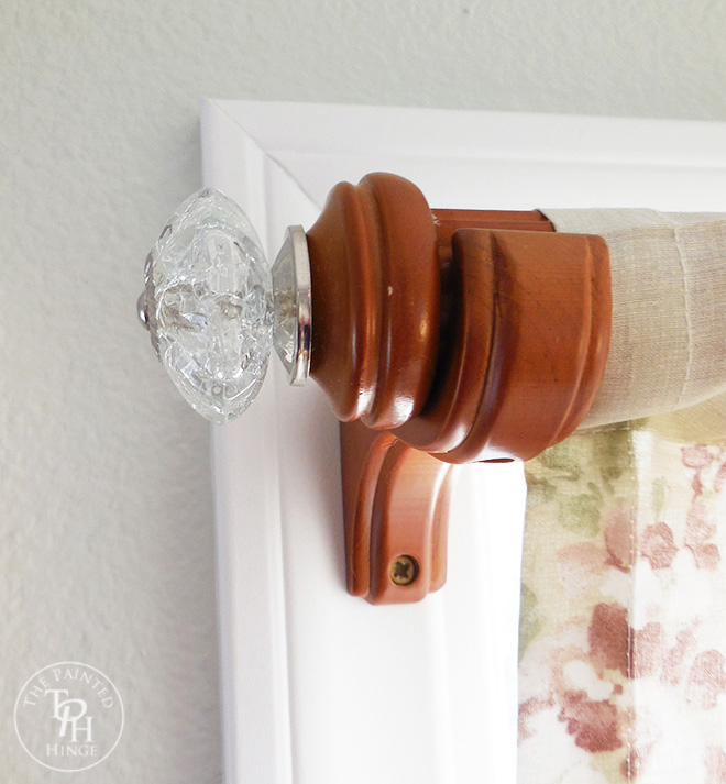 Curtain Rod Makeover Using Drawer Pulls, shared by The Painted Hinge at the Clever Chicks Blog Hop