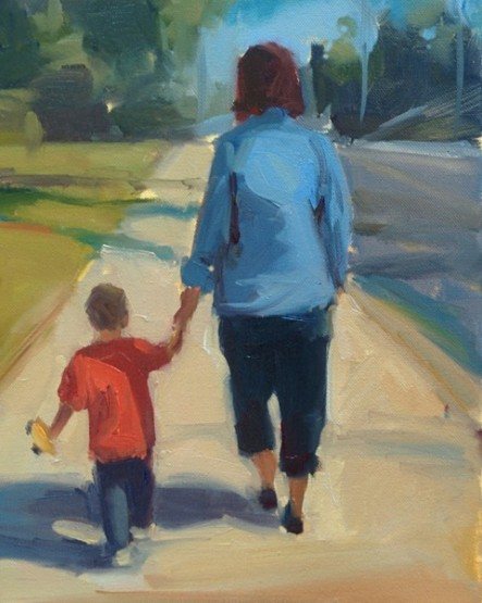 """Henry and Debbie"" -- the wife and grandson walking."