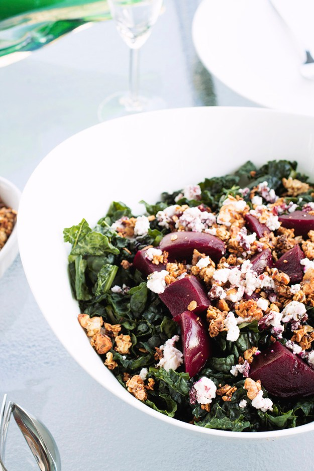 Baby beet & kale salad with chevre and walnut granola! // The Pancake Princess