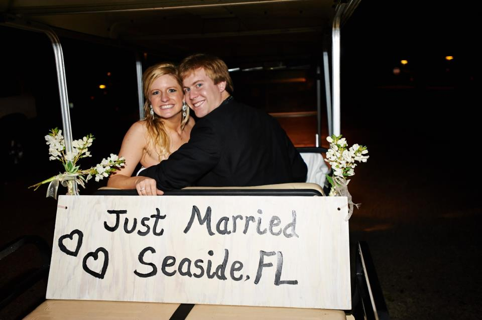Just Married Golf Cart Seaside Florida Wedding