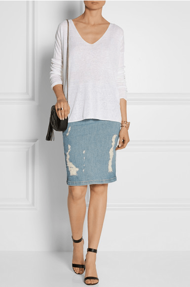Frame Denim Pencil Skirt