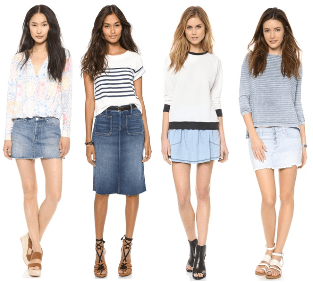 blue jean skirt shop fashion blogger personal styling trends