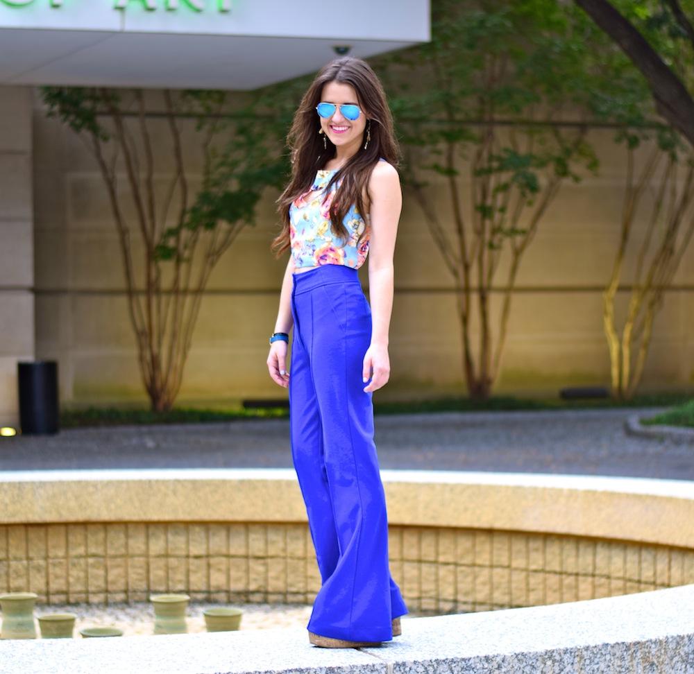 blue high waist pant