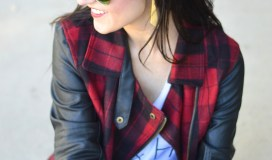 Red Plaid Leather Coat