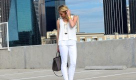 white pants white top