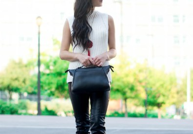fall leather pants outfit