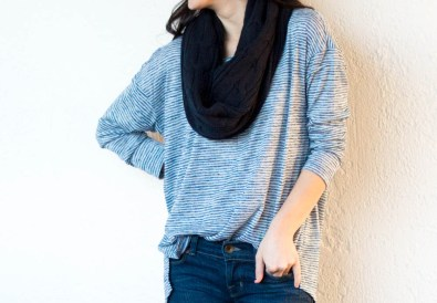 banana republic striped tee infinity scarf flare jeans-7