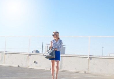 UPDATEDstriped blouse and blue skirt