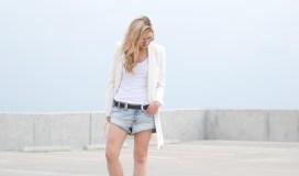 white blazer denim cutoffs