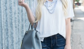 white t-shirt statement necklace