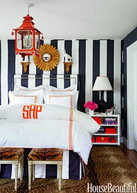 antelope-rug-orange-monogram-bedroom-striped-room