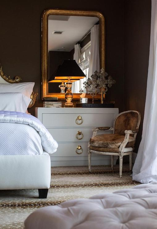 glam-french-bedroom-godl-leaf-mirror-white-baroque-bed-french-cowhide-chair