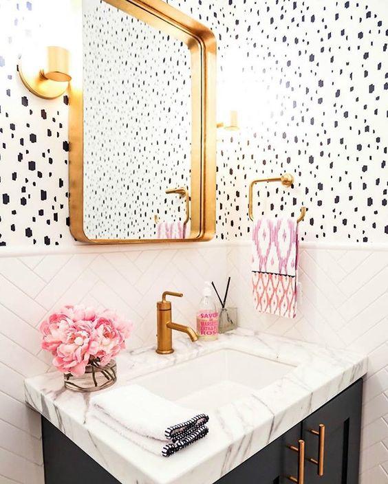 dalmatian wallpaper bathroom pink