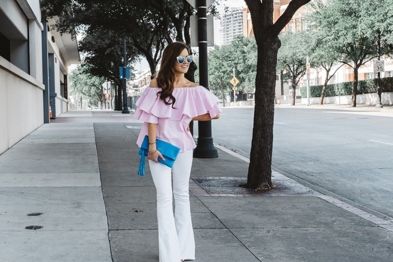 shein pink off the shoulder top
