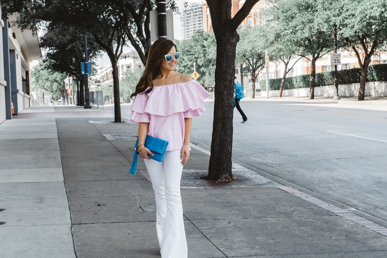 off the shoulder top pink