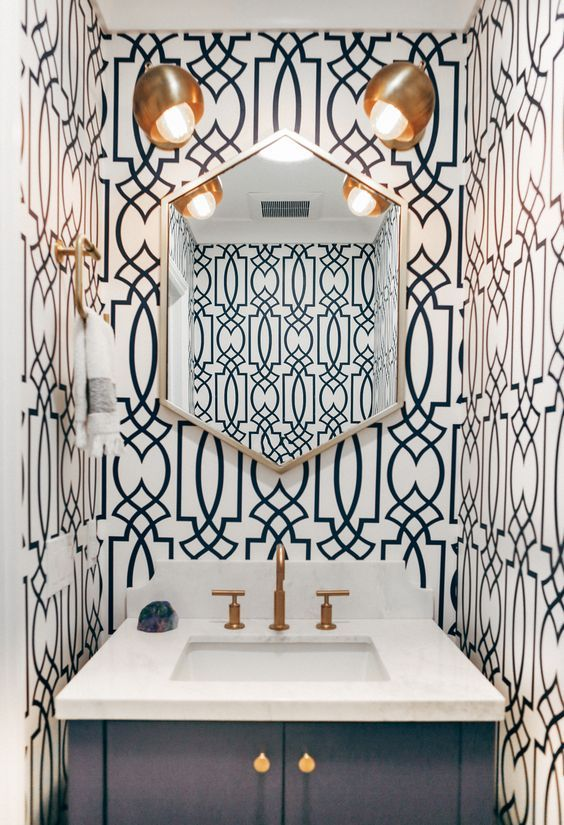 modern navy and white wallpaper guest bathroom