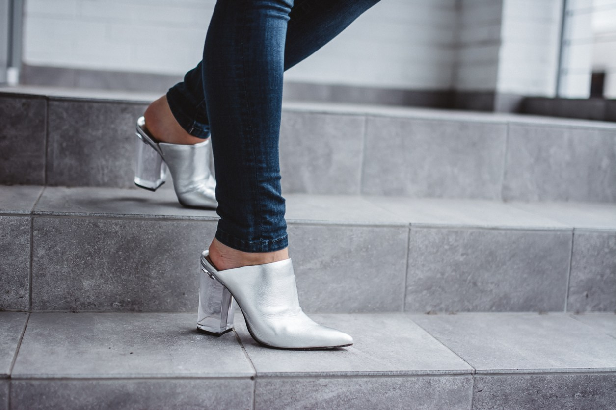 Dolce Vita Silver Mules Lucite Heel